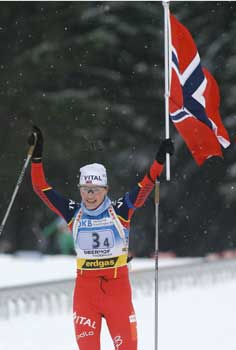 Liv Grete Skjelbreid Poiree gikk seiersetappen. (Foto: Heiko Junge/Scanpix)