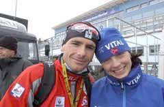 Liv Grete og Raphael Poirée på VM stadion i Oberhof der de så langt har hentet hjem fem gull og en sølv. (Foto: AFP/Scanpix)