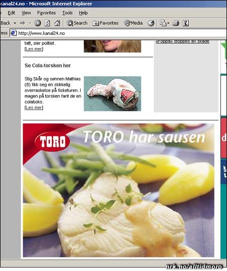Forsiden til kanal24.no i dag, 20. februar.(Innsendt av Haakon Flemmen)