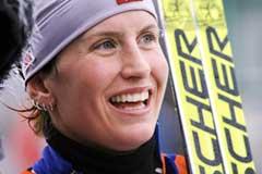 Marit Bjørgen går i Kollen. (Foto: Heiko Junge / SCANPIX)