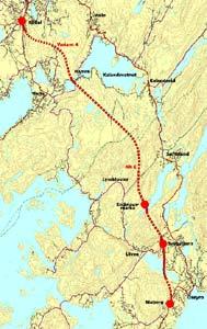 Dette er den tenkte traseen for den firefelts motorveien mellom Os og Bergen. Illustarsjon: Statens Vegvesen.