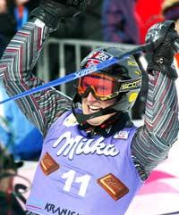 En jublende glad Truls Ove Karlsen i Kranjska Gora (Foto: Reuters/Kalle Törnström)