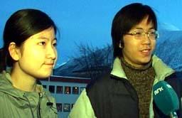 Shen Jun (til høgre), er ein av dei kinesiske elevane ved folkehøgskulen.