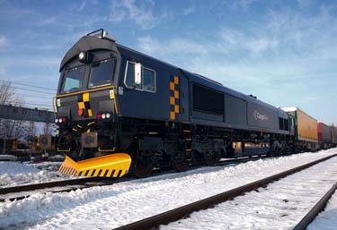 Lokomotiv av typen CD66 som drar godstogene på Nordlandsbanen. Foto: Cargonet.
