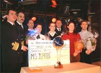 Glade prismottakere på MS «Jupiter». Fra venstre: Leif Sture, Geir Oldenborg, Øystein Lundekvam, Annette Leivestad, Wenche Teigstad, Vibeke Strandenes og Runar Totland. Foto: Fjordline