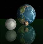 Jorden, Månen og Pluto. (Illustrasjon: York Films of England)