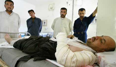 32-årige Ahmed Yussuf var blant de skadde irakerne fredag. (Foto: Scanpix / AFP / Nicolas Asfouri)