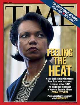 Sikkerhetsrådgiver Condoleezza Rice på forsiden av Time 5.april i år. (AP-fotp)