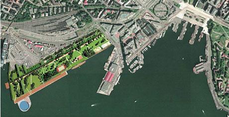 Slik ser Norske Arkitekters Landsforbund for seg at Filipstad kan se ut. Illustrasjon: Norske Arkitekters Landsforbund