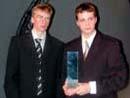 """Morten Haslerud og Thor Ivar Amundsen, Nesodden vann klassa for beste animasjonsfilm, med """"Helge""""."""