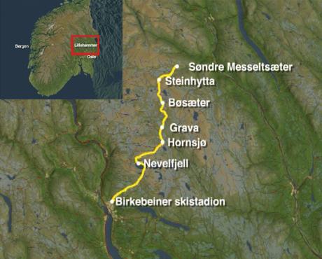 Fra Østerdalen tilbake til Lillehammer. Kart: NRK.