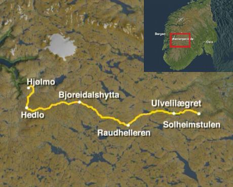 Det Store Normannslepet på Hardangervidda, mellom Vestlandet og Østlandet. Kart: NRK.