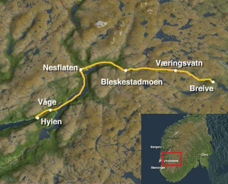 Fra Breive ved Hovden til Hylen i Ryfylke. Kart: NRK
