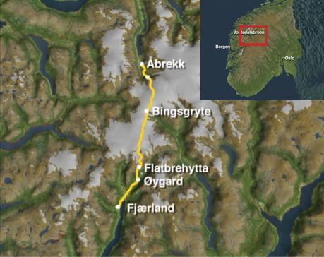 Fjærland til Åbrekk over Jostedalsbreen. Kart: NRK