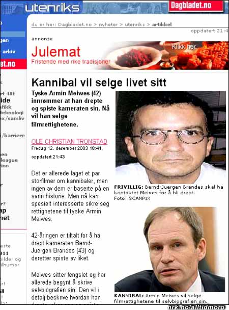 Dagbladet.no 12/12 2003 har en fiks kobling mellom annonse og redaksjonelt innhold. (Innsendt av Magnus Valle Dahl)
