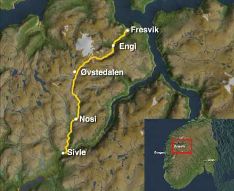 Turen fra Fresvik til Sivle. Kart: NRK