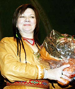 Mari Boine mottok Nordisk Råds musikkpris i 2003. Foto: Morten F. Holm / SCANPIX.
