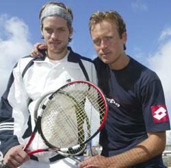 Stian Boretti (t.v.) og Jan Frode Andersen spiller Davis Cup for Norge til helgen. Foto Morten F. Holm / SCANPIX