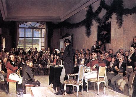 """Maleri av Oscar Wergeland i Stortingssalen: """"Riksforsamlingen på Eidsvold 1814"""". Scan-Foto: Arkiv/SCANPIX"""