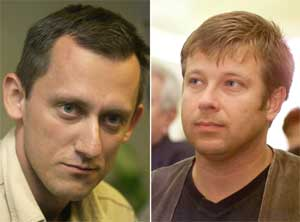 Tsjekkerne som ble bortført søndag ved 11-tiden. Journalist Martin Kubal (t.v.) og fotograf Petr Klima jobber for tsjekkisk fjernsyn. (Foto: Scanpix / AP / CTK)