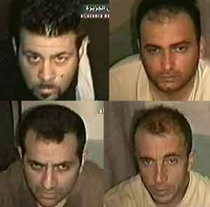 Bilder av de fire italienerne som er meldt savnet i Irak. Foto: Al-Jazeera