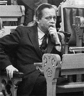 Knut Frydenlund under utenriksdebatten i Stortinget i 1973. Foto: Scanpix