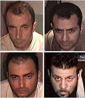 De fire italienske gislene: Umberto Cupertino, Fabrizio Quattrocchi, Salvatore Stefio og Maurizio Agliana. (Foto: Al Jazeera/Reuters/Scanpix)