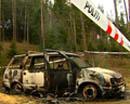 Denne bilen vart funne utbrent etter minibankranet på Ringebu i mars.