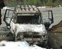 Denne Cherokee jeep vart truleg nytta under sprenginga på Vinstra. Bilen er stolen i Oslo.