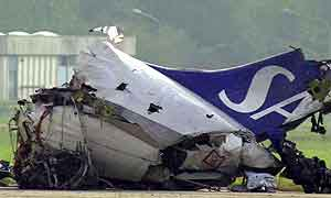 SAS-flyet etter katastrofen. Foto: Luca Bruno, AP