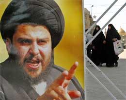 Iranske kvinner passerer en plakat med bilde av al-Sadr (Scanpix/Reuters)