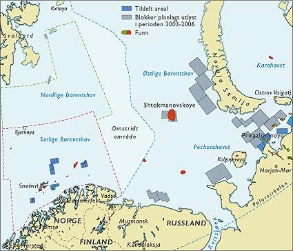 Norske og russiske olje- og gassforekomster i nord