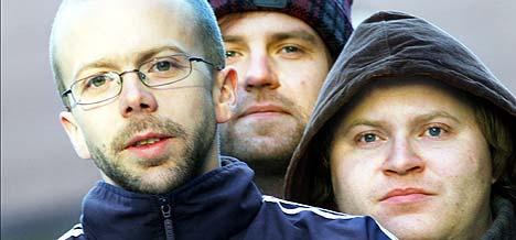 Side Brok , ved tre av dem: Torstein Hyl / Sjef R (Runar Gudnason) (t.v), Skatebård (Bård Aasen Lødemel) (t.h) og Tunk (Knut Sævik). Foto: Tor Richardsen / SCANPIX.