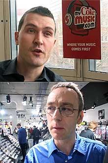 Rafael McDonnell fra mycokemusic.com og Stuat Rowe fra HMV er uenige om platebutikkene vil tape terreng.