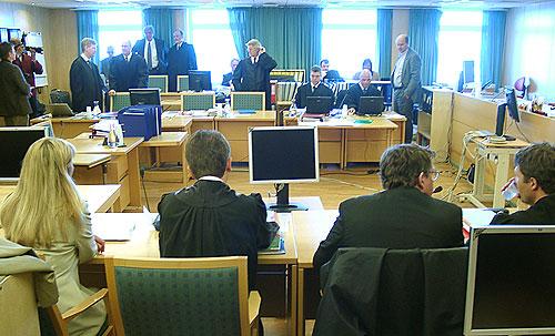 Det var fullt i rettssal 6 like før åpningen av OVDS-saken. Foto: Ivar Jensen, NRK.