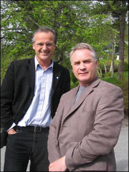 Terje Heggem og Erik Berg samarbeider om mye. Er de uenige om salg av Romsdals Fellesbank? Arkivfoto: Gunnar Sandvik