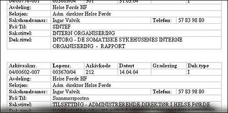 Postlista til Helse Førde viser berre inngåande post.