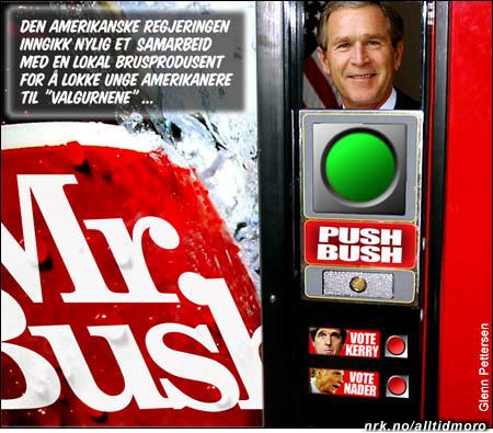 President Bush har sikret seg en fremtredende plass på de nye valgautomatene. (Innsendt av Glenn Pettersen)