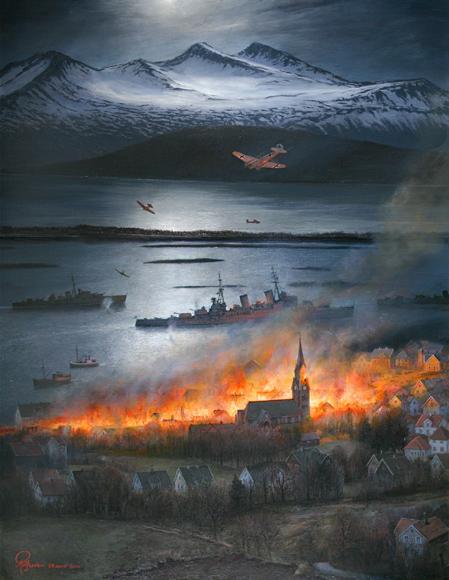 Rolf Grovens maleri av Molde i brann etter bombingen 29.april 1940 Gjengitt med tillatelse av kunstneren Foto: Scanpix