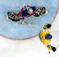Andreas Salomonsen jubler over svensk scoring (Foto: Joe Klamar, AFP)