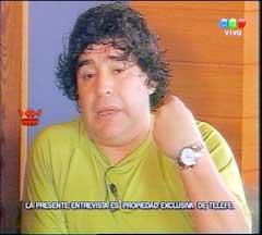 Diego Maradona under det innbringende intervjuet. (Foto: AP/Scanpix)