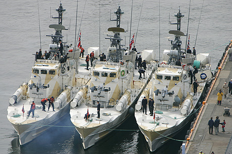 10 militære fartøyer legger til kai i Fredrikstad den 24. mai i år.