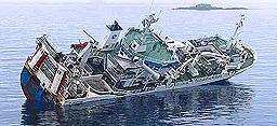 Gudrun Gisladottir rett før den sank sommeren 2002.