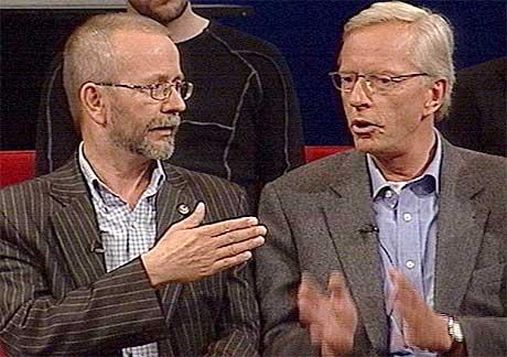 Det var ingen forsoning mellom Per Østvold og Kim Nordlie i Standpunkt i NRK tirsdag kveld. (Foto:NRK)