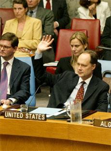 USAs FN-ambassadør James Cunningham avstår fra å stemme over resolusjonen i FNs sikkerhetsråd. (Foto: AP/Scanpix)