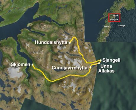 Turen fra Elvegård til Salkasdalen. Kart: NRK
