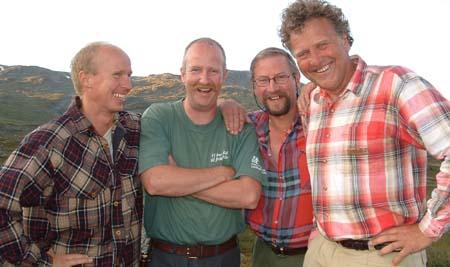 Jon, Trond, Hans og Dag ved Cunojavre. Foto: NRK