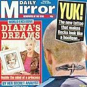 David Beckhams nye tatovering er forsidestoff i britiske tabloider. (Faksimile: Daily Mirror)