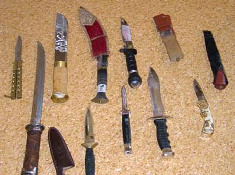 Politiet i Haugesund har beslaglagt mange kniver den siste tiden.