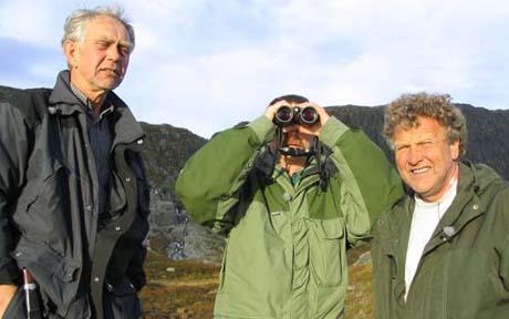 Kjetil Lidtveit, Peter Hermansen og Dag Lindebjerg speider etter rein. Foto: NRK